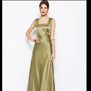 Olive green/gold satin full length dress